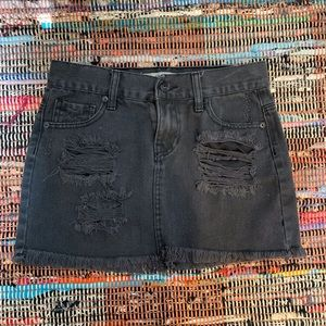 Brandy Melville Black Distressed Skirt
